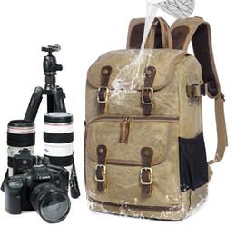 Canvas Dslr Camera Australia - Europe Fashion Waterproof DSLR Backpacks Canvas Leather Camera Rucksacks Vintage Travel Daypacks Multifunction Mochila