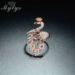 $enCountryForm.capitalKeyWord Australia - Mytys Brand New Arrival High Quality Invisible Crystal Rose Gold Peacock Ring For Women Cocktail Party Jewelry Accessory R364