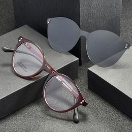 Magnetic clips sunglasses online shopping - Men Sunglasses Magnetic Clips Women Eyeglasses Frame Megnet Clip Prescription Eyewear Red Glasses Black Frame Fashion Round Shape