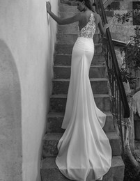 Newest Sheer Backless Sheath Mermaid Wedding Dresses Sexy Plunging V Neck Appliqued Long Bridal Gowns on Sale