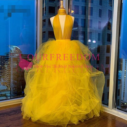 $enCountryForm.capitalKeyWord Australia - 2020 Sexy Gold 2 Pieces Prom Dresses Lush Tutu Ball Gowns Halter Long Prom Gowns 2019 Fashion African Party Dresses Plus Size