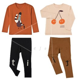 $enCountryForm.capitalKeyWord Australia - Kids Clothes Sets Tiny Cottons Baby Boys Long Sleeve T-shirt Cherry Pigeon Graphic Tops Tee Shirts Girls Leggings Pants