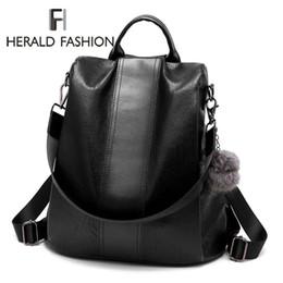 90e7ccf456c70 Herald Mode Lässig Leder Frauen Diebstahl Rucksack Qualität Vintage Rucksäcke  Weibliche Größere Kapazität Reise Umhängetasche Sac