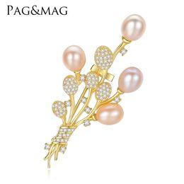 $enCountryForm.capitalKeyWord Australia - PAG&MAG Brand Silver 925 Fine Jewelry High Quality Vintage Brooch Pins Zircon Natural Pearl Flower Brooch Wedding Accessories