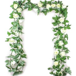 Wholesale 2 M Simulation Rose Flower Rattan Artificial Flower Vine Silk Wisteria Garland Hanging Rattan For Wedding Arch Garden Wall Deco