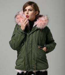 Dog Zipper Australia - Hot sale Classic pink raccoon fur trim pink fox fur lining army green canvas mini parkas with ykk zipper