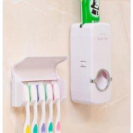 Teethbrush Holder Squeeze Toothpaste Machine 2 Pieces Set Family bathroom Wall Mount Teethbrush Storage Holder Bathroom Accessories WY493Q on Sale