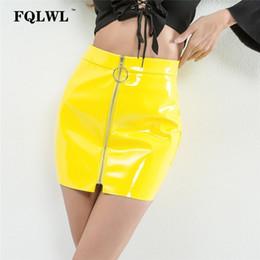 2506f4ad9 Fqlwl Pvc Pu Leather Skirt Womens Metal Circle Zipper White Latex Skirt  Pencil Jupe Femme Summer 2018 Skater Mini Yellow Skirts Y19043002