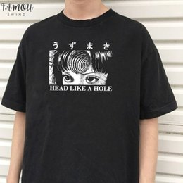 japanese summer clothing UK - Head Like A Hole Harajuku Summer Women Short Sleeve Letter Anime T Shirt Hipster Grunge Horror Japanese Tee Gothic Clothing