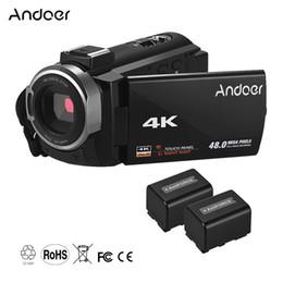 "night vision flash 2019 - Andoer Camcorder with 2pcs Batteries DV 3"" TouchScreen WiFi IR Night Vision Hot Shoe Mount Portable 4K HD Digital V"