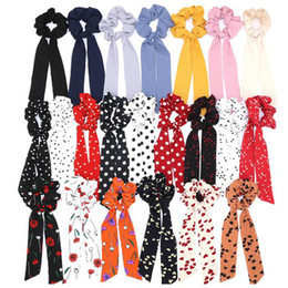 Hair band bow style online shopping - Boho Style Printed Ribbon Elastic Hair Bands Bow Hair Scrunchies Elastic Headband Scarf Rope Women Red Heawear Accessories