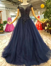 simple nude art Australia - 2019 Cheap Simple Long Party Dresses O-Neck Short Sleeves Lace Up A-Line Mother Of The Bride Dress Navy Blue Beaded Prom Evening Dresses