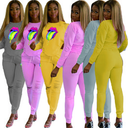 Women long sleeve fleece cycling jersey online shopping - Big Lips Printed Women Tracksuit Long Sleeve Hoodies Tops Ripped Holes Pants Trouser Two Piece Outfits Casual clothes S XL