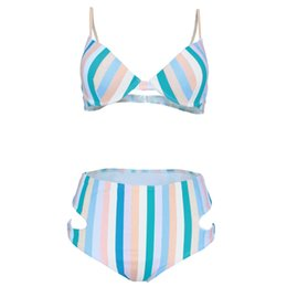Discount swimwear strips - Cross-Border Explosion Models 2019 European And American Bikini Swimwear for Women a Generation of Fat Digital Print Col