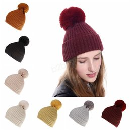 $enCountryForm.capitalKeyWord NZ - Women Pom Pom Beanie Winter warm Knitted Hats detachable fur ball Cap wool Ski outdoor Knit Crochet skull hat Bonnet LJJA2844
