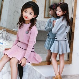 pink tutu set Australia - Kids Girls Knit Skirt Sets Fall 2019 Teenage Girls Long Sleeve Sweater Top & Tutu Skirt 2 Pcs Clothing Sets Kids Knitwear Set T200413