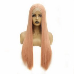 hot pink lace wigs NZ - Hot Popular Long Straight Orange Pink Silky Soft Lace Front Wig Fiber Hair Synthetic Wigs For Women