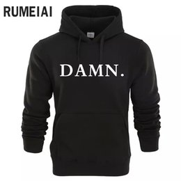 women sweats hoodie shirt 2019 - RUMEIAI 2018 New Sweatshirts Tracksuit Men Fashion Hip Hop Hoodies Pullover Sweat Shirt Black DAMN Print Men Women Molet