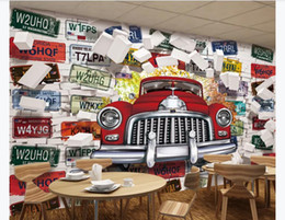 house plates Australia - Customized 3d mural wallpaper photo wall paper European and American retro classic license plate 3D stereo wall restaurant bar background