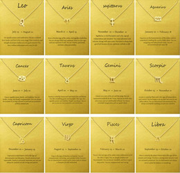 Gold choker necklace initials online shopping - Fashion No Dogeared Logo With Card The Zodiac Sign Gold Plated Leo Aries Virgo Pendant Chain Necklace Choker Clavicle Jewelry Gift female