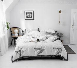 $enCountryForm.capitalKeyWord Australia - light camel collocatio white cotton Bleached fold process Korean princess bedding sets 4pcs quilt cover pillowcase bed skirt style