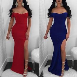 High Fashion Maxi Dresses Australia - 2019 New Fashion Ladies Slash Neck Evening Party Dress Solid High Split Mermaid Slim Club Long Maxi Dress 2 Color