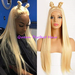 Discount long silky blonde hair 613 Light Blonde Hair Lace Front Synthetic Wigs Long Silky Straight Heat Resistant Hair Pre Plucked Baby Hair Fashion Wo