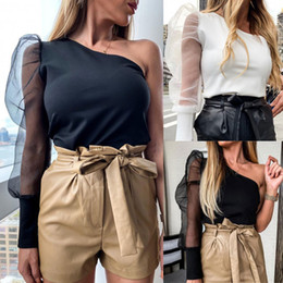 Wholesale peplum tops online – Sexy One Shoulder Puff Sleeve Peplum Knot Belted Top Blouse Women Summer Autumn Solid Ruffle Elegant Party Blouses