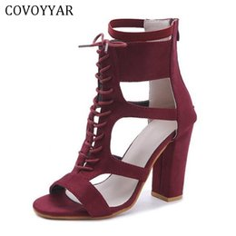 cd72611778ed Dress Covoyyar 2019 Women High Heels Lace Up Gladiator Sandals Peep Toe Cut  Out Lady Pumps Sexy Party Dress Shoes Big Size Whh137