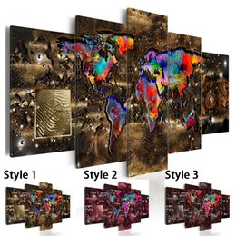 life size pictures Australia - Fashion Wall Art Canvas Painting 5 Pieces Watercolor Retro Metal Map Modern Home Decoration,Choose Color And Size No Frame