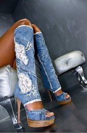 Hot Open Toe Boots Australia - Hot Sale Women Fashion Over Knee Denim Boots Open Toe 2019 Night Out Slim Style Elastic Sexy High Heel Jeans Gladiator Long Boots