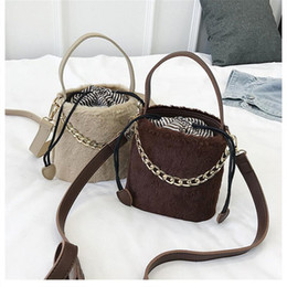 c3e1b74691 Plush Faux Fur Single Shoulder Bucket Bag Fashion Crossbody Messenger  Handbags Hand Bags For Women Evening Clutch Tote Warm Bag