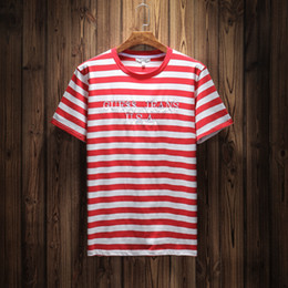 c45c9c603 Striped tee men online shopping - Jeans USA Mens Striped T shirts Summer  Fashion Embroidery Designer