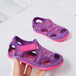 boys barefoot sandals Canada - MHYONS 2020 Children's sandals boys beach shoes solid bottom soft wear non-slip girls baby toddler shoes kids barefoot shoes Y200404