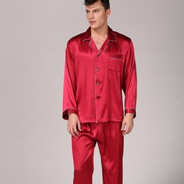 $enCountryForm.capitalKeyWord Australia - Brand Summer Style Satin Silk Pajamas Sets Long Sleeve Men Soft Cozy Pijama Male Sleepwear Button Closure Home-wear Sets