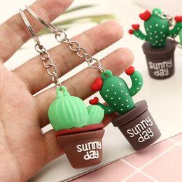 $enCountryForm.capitalKeyWord Australia - Cartoon Rubber Prickly Pear Keychain Simulation Plant Potted Cactus Keyring Backpack Pendant Couples Women Men Girl Gift Key Fob