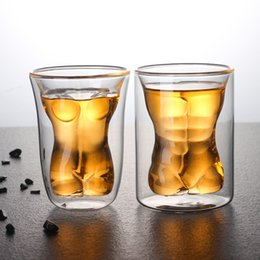 $enCountryForm.capitalKeyWord Australia - Double Layer Muscle Men Glass 2 Designs Naked Lady Body Cup Whiskey Drinking Mug Creative Couple Cup 100 Pieces DHL