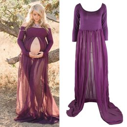Strapless Cotton Maxi Australia - New Arrival Maternity Chiffon Gown Split Front Maxi Photography Dress for Photo Shoot