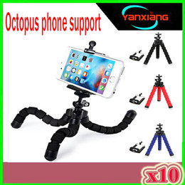 tripod manfrotto Canada - Car style mobile phone holder flexible octopus tripod bracket selfie stand mount manfrotto support For iPhone XIAOMI camera 10PCS ZY-ZJ-0