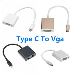 pixel cable NZ - Free DHL Type C to VGA Adapter Cable USBC USB 3.1 to VGA Adapter for Macbook 12 inch Chromebook Pixel Lumia 950XL
