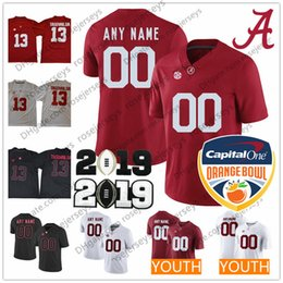 7ea3c3c66 Custom Alabama Crimson Tide 2019 NCAA Champions Red White Black Stitched  Any Name Number Tua Jeudy Waddle Harris Smith Men Youth Kid Jerseys