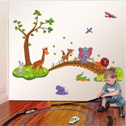 AnimAl crossing stickers online shopping - Removable cartoon wall stickers children s room kindergarten creative decoration lovely wall stickers animals crossing the bridge