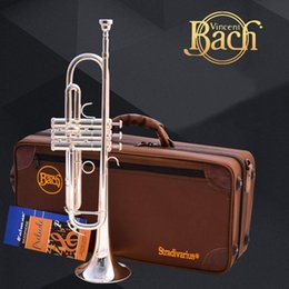 silver professional trumpet UK - New Sell Professional Bach Lt190s -77 Bb Trumpet Silver Plated Yellow Brass Instruments Bb Trumpet Popular Musical Perform Instrument
