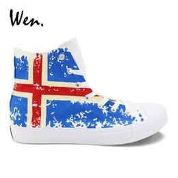 Platform Pedals Australia - Wen Hand Painted Shoes Design Iceland Flag Canvas Sneakers Men Women Vulcanize Shoes Pedal Platform Espadrilles Flat Plimsolls #268417