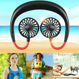 2019 Portable USB Rechargeable Neckband Lazy Neck Hanging Dual Cooling Mini Fan MS car cooling fannew DHL on Sale