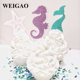 Baby Cupcakes Toppers NZ - WEIGAO Mermaid Party Cupcake Topper Girl 1st Birthday Party Decoration Kids Baby Shower Mermaid Tail Cake Toppers Supplies