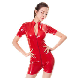 catsuit zipper crotch Australia - New Style Patent Leather Shiny Short Jumpsuit Women Sexy Zipper Open Crotch Catsuit Bodycon High Neck Playsuit One Piece Leotard