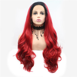 $enCountryForm.capitalKeyWord UK - Front Lace Chemical Fiber Female Small Roll Long Curly Hair Gradient Dyed Red Simple Top Fashion Hot