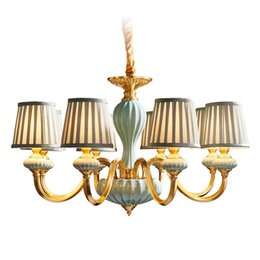 American Brass Lighting Australia - American style chandelier Real brass LED E14 bulb Living room bedroom restaurant droplight Ceramic cloth art lighting fixture