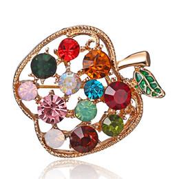 $enCountryForm.capitalKeyWord Australia - Full Rhinestone Apple Brooches For Women Shinnig Summer Brooch Pin Dress Coat Hat Broches Luxury Bijouterie Jewelry